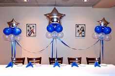41 Ideas for basket ball team party ideas banquet centerpieces Banquet Decorations, Graduation Decorations, Star Decorations, Balloon Decorations, Banquet Ideas, Sports Banquet Centerpieces, Police Retirement Party, Police Party, Retirement Ideas