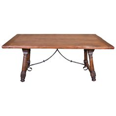 Antique Spanish Trestle Table with iron Stretcher 1