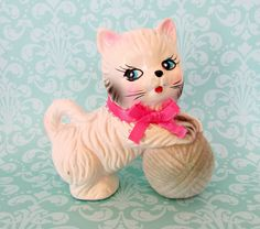Cute Vintage Ceramic Cat Figurine Japan by ItsMeConnieJean on Etsy