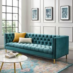 Make a remarkable appeal in your home decor with the selection of this astonishing and unique MODWAY Delight Sea Tufted Button Performance Velvet Sofa. Teal Sofa, Green Velvet Sofa, Green Sofa, Turquoise Sofa, Velvet Tufted Sofa, Gold Sofa, Living Room Sofa Design, Living Room Designs, Luxury Sofa
