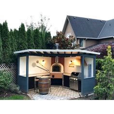 "corner pizza oven outdoor kitchen design ideascorner pizza oven outdoor kitchen design ideasThe ""classic"" Portuguese brick pizza oven with cast aluminum door - - Outd .The ""classic"" Portuguese brick pizza oven with cast aluminum door Pizza Oven Outdoor, Outdoor Kitchen Bars, Outdoor Kitchen Design, Outdoor Barbeque, Brick Oven Outdoor, Rustic Outdoor Kitchens, Outdoor Grill Area, Outdoor Grill Station, Outdoor Cooking Area"