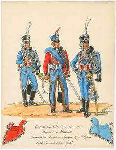 Saxony; Regt of Hussars; L to R Hussar Grande Tenue, Trumpeter, Tenue de Campaign & Officer, Grande Tenue 1810-13 by H.Boisselier.