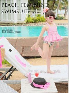 蜜桃女孩泳衣+泳褲+泳帽
