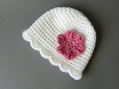 Crochet hat with folwerbabygirl beaniecrochet hat by Amaiahandmade