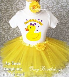 Fast Ship - Birthday Purple Yellow Duck Ducky Duckie Rubber Shirt & Tutu Set Girl Outfit Party First 1st 2nd 3rd 4th 5th 6th 7th Custom Age