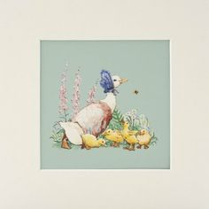 Nursery room art. Beatrix Potter's Jemima Puddleduck and the Ducklings (Mounted Print)