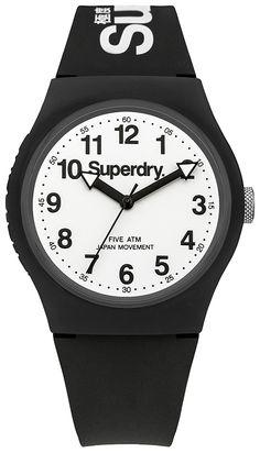 Superdry Urban Black Silicone Strap Watch SYG164BW