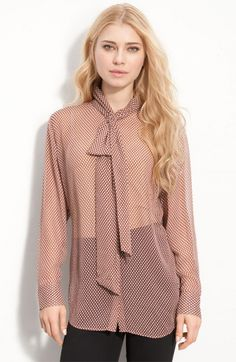 Equipment - Top Items Online Sorted by Popularity Tie Neck Blouse, Sheer Blouse, Silk Ties, Blouses For Women, Clothes, Tops, Nordstrom, Waffle, Mauve