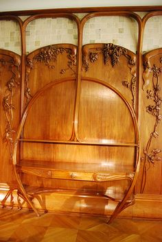 Art Nouveau wall panels with built-in desk unit | | Wood | Can't verify due to no information at link