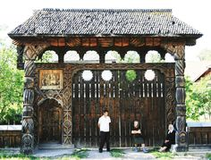 Traditional Romanian carved wooden gate in Hoteni, Maramureş Hut House, Visit Romania, Wooden Gates, Stone Houses, Bucharest, Beautiful Places To Visit, Illustrations And Posters, Architecture Details, Beautiful Landscapes