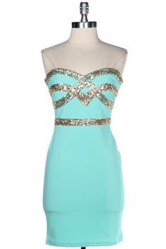 Crown Jewels Sweetheart Dress - Mint
