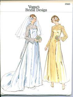 Vintage 1970s Vogue 2980 Bridal Wedding Gown