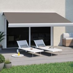 Store banne manuel Nori coffre intégral 4 x 3 m Gris Merlin 2, House Without Walls, Getaway Cabins, House Extensions, Pergola Designs, Ping Pong Table, Simple Colors, Wall Spaces