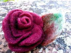 Brooch for jacket or dress or hair pin Happy Birthday Rose, Birthday Roses, Happy Birthday Gifts, Sugar Flowers, Felt Flowers, Spring Flowers, Love Valentines, Valentine Gifts, Rainbow Roses