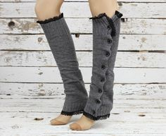 Gray slouchy open button down lace leg warmers by DayfitFashion, $33.99