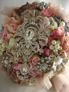 broaches in the bride's bouquet.
