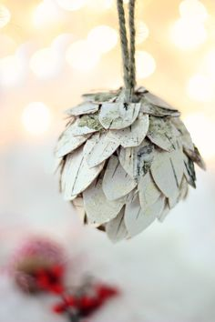 Love this feathered birch bark DIY ornament from Lucy at Craftberry Bush.