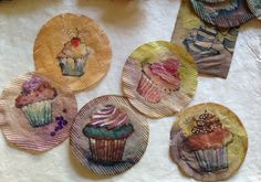 Inspiration - Cupcakes on round tea bags, artist, Ruby Silvious does a whole art journal using tea bags