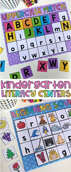 Kindergarten Literacy Centers. Your kiddos will love completing these interactive literacy activities in independent or small group settings. This pack features 8 centers designed for Kindergarten students which allow them to practice uppercase letters, lower case letters, beginning sounds, short a words, short e words, short i words, short o words and short u words. There are both color and black & white (ink friendly) versions included. The black and white centers look super cute printed…