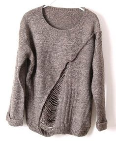 Loose Brown Knitwear with Ladder Detail