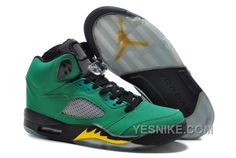 Air Jordan V5 Oregon Ducks Home PE Green AppleYellow StrikeBlack For Sale