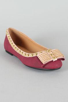 Shoe Republic Amuse Bow Studded Ballet Flat