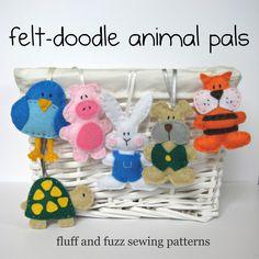 Free Felt Craft Patterns | Sewing felt animal pals | fluff and fuzz