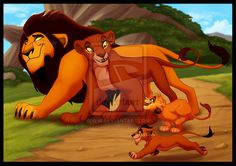 Ahadi and Uru with their cubs, Mufasa and Scar