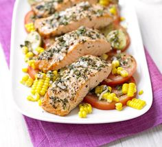 Salmon with new potato & corn salad & basil dressing | A no-fuss fish supper made with healthy yet satisfying ingredients, to help you eat well all week