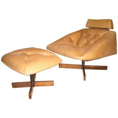 Percival Lafer Rocking, Lounge Chair and Ottoman Leather and Rosewood 1