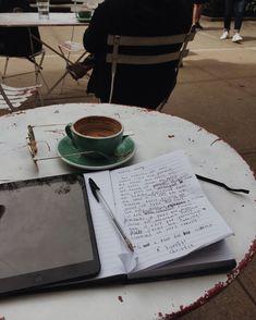 aesthetic, coffee y writing imagen en We Heart It