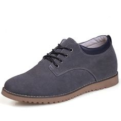 comfortable height tall shoes - Gray Suede Leather lift Casual shoes for men extra height 6cm / 2.36inches immediately from Topoutshoes store