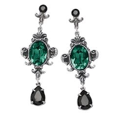 """Queen of the Night Earrings.    'Queen of the Night' Epitomes of wickedness! These matching, Baroque-styled post Earrings and double-strand Necklace drip with black and emerald-colored Swarovski crystals in dramatic, antiqued-pewter settings. Handcrafted in UK. Earrings: 3"""" long. Necklace: 18"""" long.  ****  Queen of the Night Earrings  Item #:P412133  Price:$79.95"""