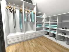 Attic Bedroom Storage, Attic Bedrooms, Attic Closet, Closet Space, Walk In Closet, Beautiful Interior Design, Beautiful Interiors, Dressing Room Design, Glam Room