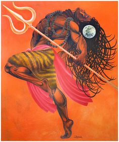 """Lord Shiva-Anand Tandav"" By Rahul Vyas Shiva Angry, Shiva Shakti, Shiva The Destroyer, Indian Art, Painting, Lord, Lord Siva, Lord Shiva Painting, Shiva Tattoo"