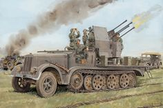 WW2 German antiaircraft self propelled PQX071 canvas fabric poster print (frame available) wall art room decor home decoration #Affiliate