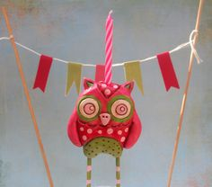 Watermelon Owl Cake Topper in green red and pink for by indigotwin