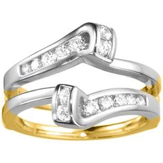 18k Gold 1/3ct TDW Diamond Classic Bypass Twist-style Jacket Ring Guard (G-H, SI2-I1) (18K Two-Tone Gold, Size 11), Women's