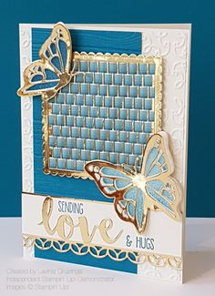 Stampin Up You Move Me bundle, grid used to weave ombre ribbon, sentiment from Sunshine Sayings and dies, border from Flourish Thinlits