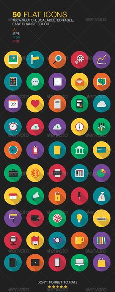 Flat Vector Icons — Photoshop PSD #responsive #media • Available here → https://graphicriver.net/item/flat-vector-icons/6748315?ref=pxcr