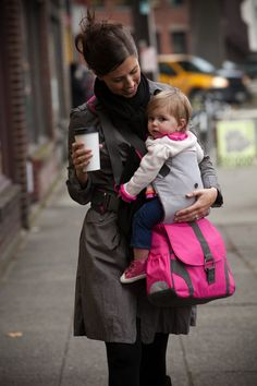Diaper bag with built-in side carrier. What a great idea to copy!