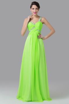 Green One Shoulder Beads Embellished Chiffon Maxi Dress from Graciella's. Saved to Evening Gowns. #dress #pretty #long #neonlights.