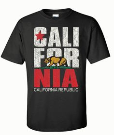 California Republic Vintage Retro Asst Colors T-shirt/tee