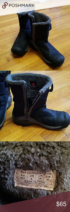 """Black and Gray Keen """"Betty"""" boots W8 like new Black and Gray Keen """"Betty"""" boots W8. Re-Posh. Like new. I never got to wear these. My calves are too wide for these to zip. A thinner calf human will adore these during our Arctic bomb weather! Smoke free home. Keen Shoes Winter & Rain Boots"""