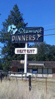 The Shamrock is closed, clearly no dinners these days. It's right on I5 at the exit marked: Easy Street and Shamrock Road at Exit 770 in Yreka, California. I wonder how long the sign will last.
