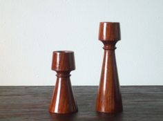 Pair of Dark Wood Vintage Taper Candle Holders $10
