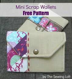 Sewing Patterns Free Free Sewing Pattern - Mini Scrap Wallets - This mini wallet is the perfect size for holding a few credit cards, a small amount of cash, or you could even use them as a business card holder. Purse Patterns, Sewing Patterns Free, Free Sewing, Free Pattern, Pattern Sewing, Fabric Patterns, Sewing Hacks, Sewing Tutorials, Sewing Crafts