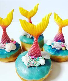 Mermaid donuts by Cupcakes & Studmuffins Donuts, Mermaid, Birthday Cake, Cupcakes, Desserts, Food, Frost Donuts, Tailgate Desserts, Cupcake Cakes