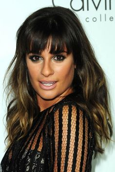 Lea Michele ombre waves with wispy bangs