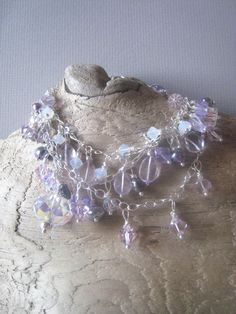 Pale amethyst three chain bracelet - a study in lavender #littlebearsmom #etsy
